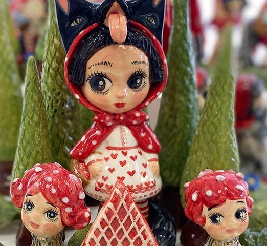 Ceramic figurine doll little riding hood