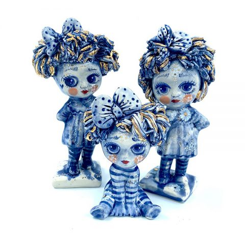 Ceramic figurine doll blue series